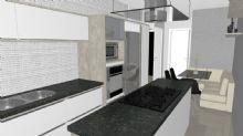Cozinha com ilha, painel para TV e mesa com sofá de canto