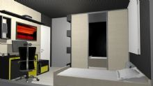Dormitório do menino. Guarda roupas com porta de correr e espelho para ampliar o ambiente pequeno. Bancada em estilo