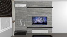 Painel para tv com estante lateral para cobrir pilar aparente e tubulação de ar condicionado que ficava exposta.