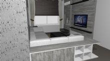 Sala com aparador separando ambientes