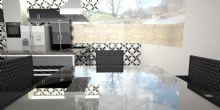 Projeto de Interiores modelado e renderizado em 3D, com tons sóbrios, bem iluminada e ampla.
