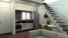 Cozinha com escada