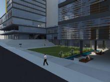 Praça aberta semipública, com escada como ambiente de transição e de permanência.