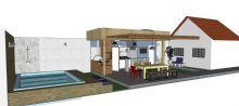 Projeto da área de lazer com piscina, churrasqueira, banheiro e espaço zen.