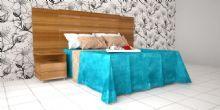 Projeto de Interiores  modelado e renderizado em 3D, com tons de azul e papel de parede floral.