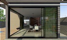 Com grandes aberturas lineares, fechada por portas de correr em vidro, garantindo transparência, amplitude e ventilação .