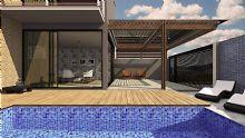 A piscina foi posicionada na parte frontal da residência, no eixo Norte e Sul na parte frontal, para receber por maior tempo o sol.