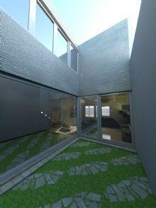 Vista ampliada do jardim interno. Detalhe para os caixilhos do superior e empena dos blocos laterais.