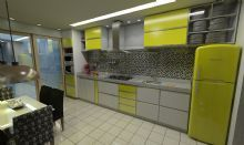Layout da cozinha funcional e colorido seguido todo o conceito da casa.