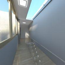 Detalhe da iluminação da escada e caixilhos.