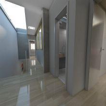 Circulação superior, detalhe para a iluminação natural em cima da escada.